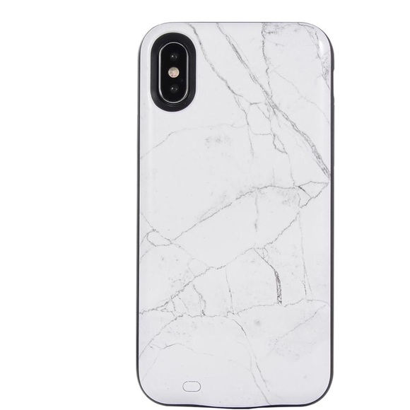 quality design ba2c6 2d187 WHITE MARBLE BATTERY POWER iPhone X Case